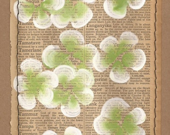 Tampa... recycled book art, Blossoms painted on an Antique 1930s Encyclopedia book page Stitched to cardstock