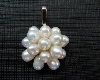 White Rice Freshwater Pearl Cluster Pendant