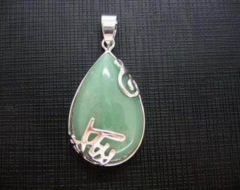 Beautiful Teardrop Aventurine Inlay Silver-Plated Pendant