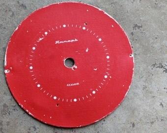 Vintage Alarm Clock Face -- cardboard - red
