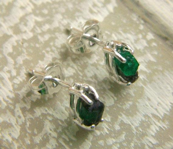 Emerald Earrings Raw Rough Sterling Stud