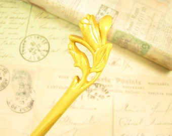 Exquisite Boxwood Hair Stick - Magnolia Flower