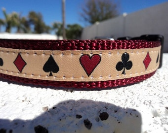 """Sale Dog Collar Aces High 3/4"""" or 1"""" Quick Release buckle - No Martingale limited ribbon"""