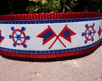 """Sale Large Dog Collar 1.5"""" width Quick Release buckle adjustable Nautical - no martingale limited ribbon"""