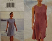 90s Calvin Klein Summer Dress Pattern, Button Front, Loose Fitting, Sleeveless, A-line, Sleeves, Vogue 1589 Size 8