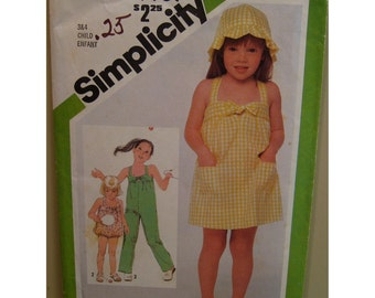 Girls Romper, Sundress, Jumpsuit Pattern, Bandeau, Straps, Sunhat, Simplicity No. 9989 Size 3, 4 OR Size 5
