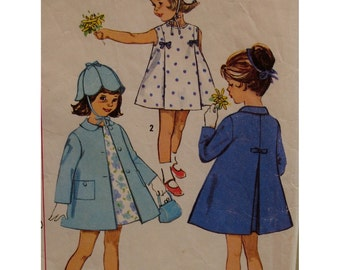 "Girls A-Line Coat, Dress Pattern, 1960s, Petal Hat, Pleats, Small Collar, Pockets,  Simplicity No. 5337 Size 6 (Chest 24"" 61cm)"