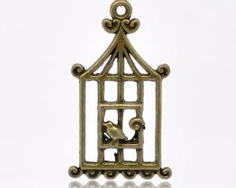 1 Antique Bronze Birdcage and Bird Pendant Charm 32mm