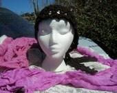 Gypsy Head Scarf, Brown Hat, Crochet Hat, Cancer Hat, Cancer Cap