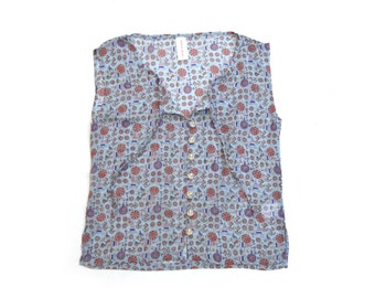 Clearance SALE/ Nautical Summer sheer tank top / Buttoned down sleevless chiffon blouse with a Bow/ Printed chiffon top