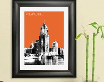 Milwaukee City Skyline 4 - Milwaukee Riverfront - Skyline Poster Art Print , 8x10 - Choose your color
