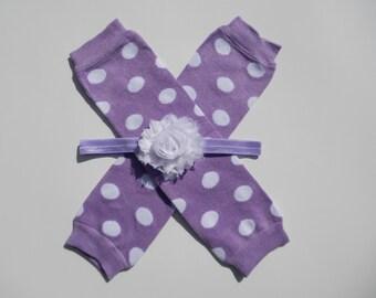 Purple Polka Dot Legwarmer and Headband Set, Baby Headband, Shabby Chic Headband, Newborn Headband and Legwarmer Set, Baby Leggings