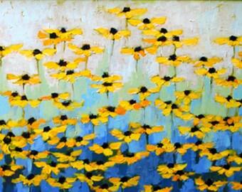 Yellow flower art/floral art/large art print/garden of flowers/fine art/flower print/Daisy flower/fine art/ giclee print/home decor/12 x 24