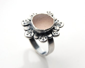 Genuine Pink English Sea Glass Flower Ring Sterling Silver Size 9 Cocktail Ring
