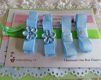 Hair Clippies Baby Infant  Tuxedo Bow Hair Clips Color  Blue