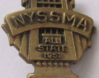 Vintage 1953 New York State School Music Association All State Brooch Lapel Pin Dieges and Clust New York