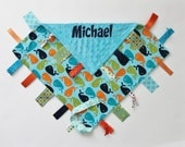 PERSONALIZED Ribbon Tag Blankie with Pacifier Clip, Large 16 x 16 Whales