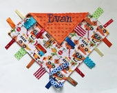 PERSONALIZED Trucks and Tractors Ribbon Tag Blankie with Pacifier Clip, Large 16 x 16 Orange Minky