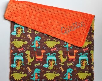 PERSONALIZED Baby Boy Dino Dudes Dinosaur Stroller Blanket - Orange Dot Minky