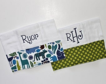Two PERSONALIZED 2D Zoo Animals and Polka Dots Burp Cloths