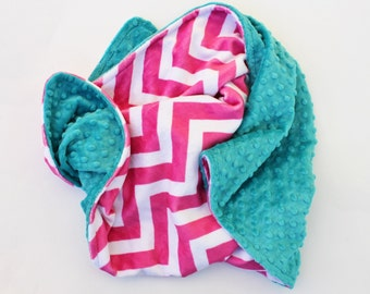 PINK CHEVRON MINKY Baby Stroller Blanket with Teal Dot MInky