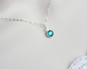 Birthstone Necklace, December Birthstone Necklace, Swarovski Birthstone, Sterling Silver Swarovski Birthstone Charm, Personalized Necklace