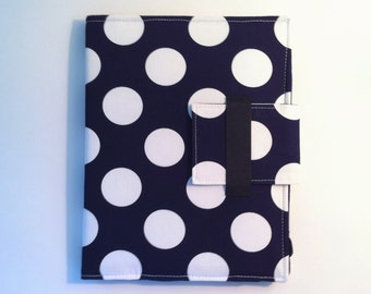 iPad Mini Case, iPad Mini Cover, iPad Mini Folding Stand in Modern Navy and White Dots