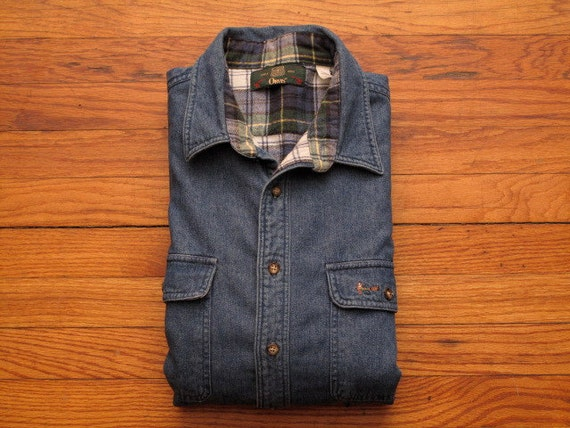 Mens vintage orvis flannel lined denim shirt for Flannel shirt and jeans