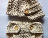 Baby newborn newsboy hat and diaper cover Newborn photography prop hat and diaper cover crochet photo prop
