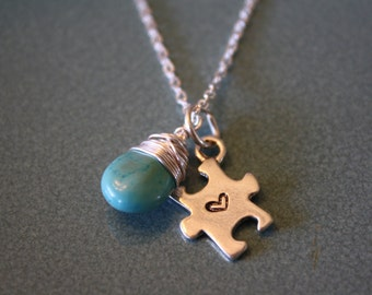 Autism Awareness sterling silver with wire wrapped briolette on sterling silver chain, Sterling Silver puzzle piece, Stamped Jewelry Heart
