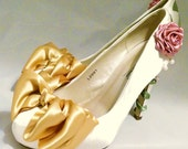 Ivory Satin Bridal Shoes Belle Disney Beauty and the Beast  Inspired  Wedding Bridesmaid