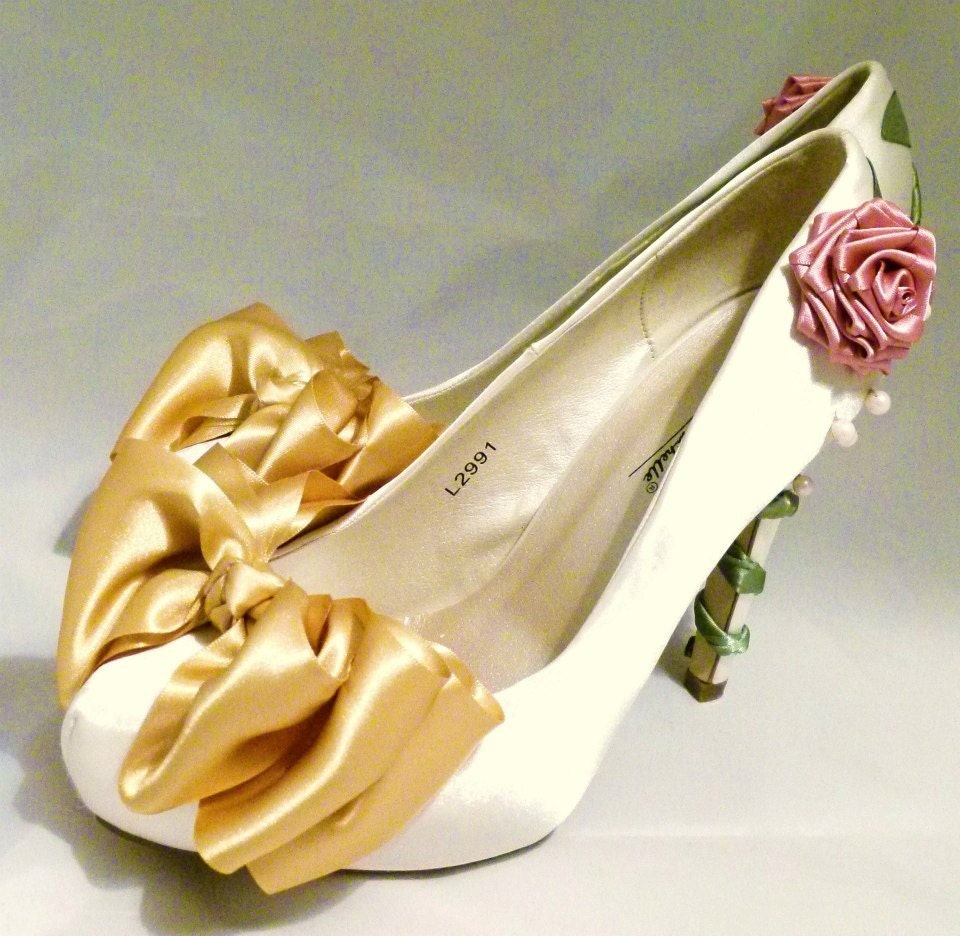 Ivory Satin Bridal Shoes Belle Disney Beauty And The Beast