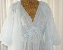 Chiffon Peignoir Set Vanity Fair Double Chiffon Peignoir Set Powder Blue Mint Condition NWOT Size 36