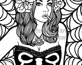 Digital Download Print Your Own Coloring Book Outline Page - Pin Up Girl by Carissa Rose