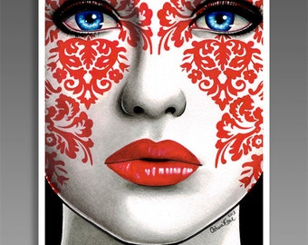 The Impostor 18x24 in Poster Print Damask Lowbrow Tattoo Art Home Decor Traditional Art Red White and Black Girl Portrait Pattern Pretty