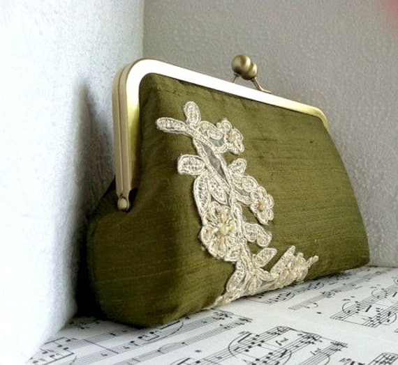 Olive green clutch, silk clutch in frame with champagne lace applique, clutch purse, fall fashion, autumn