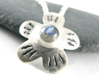 Labradorite Jewelry, Sterling Silver Necklace, Labradorite Necklace, Gifts For Women, Flower Necklace, Labradorite Pendant - MADE TO ORDER