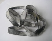 Hand Dyed Painted Habotai Silk Wrap Bracelet - shades of gray - Silk Fairy Ribbon DIY wrap bracelet Silk Bracelet  Ribbon Bracelet