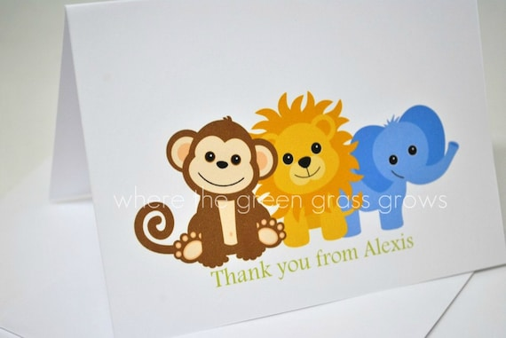 Monkey Lion and Elephant Thank you Cards
