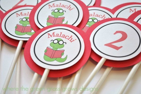Bookworm Cupcake Toppers