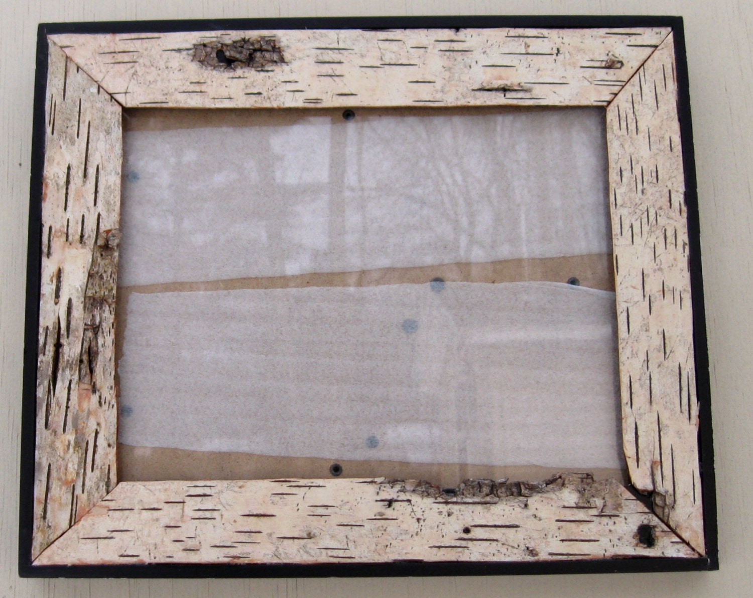 Home decor birch bark lined black picture frame x
