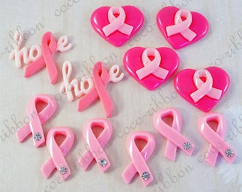 12pc Mixed Lot  Hope Heart Breast Cancer Awareness Ribbon Flatback Resin Cabochon