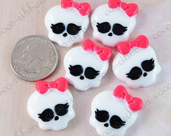 25mm 12~24 pieces White Skull with Hot Pink Bow Flatback Resin Cabochons (20monsterskull)