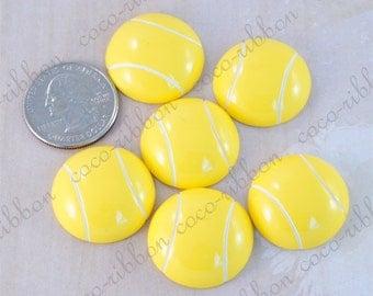25mm 12pcs Yellow Tennis Ball Sport Ball Cheer Flatback Resin Cabochons (C30)