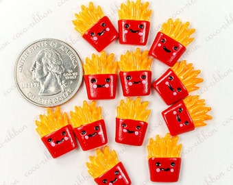 17mm 12pc Smile Face French Fries FLAT BACK RESINS Cabochons
