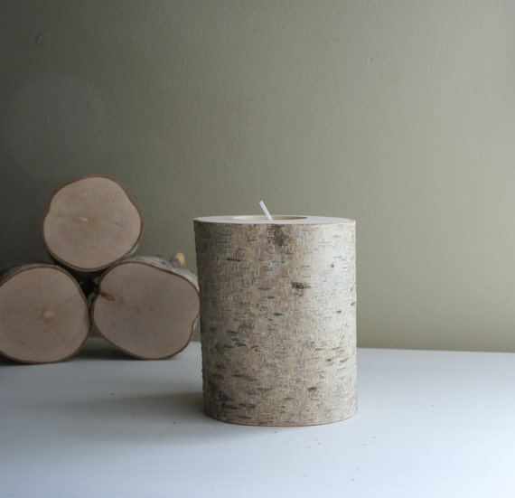 Sale - natural white birch wood candle holder