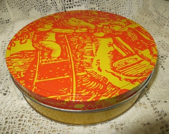 Unique Vintage Orange and Yellow Round Nut Tin from House of Almonds