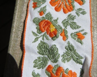 One Yard Wide Floral Trim Orange and Yellow