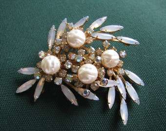 Brooch, Triple Starburst with Aurora Borealis, Moonstones and Baroque Pearls