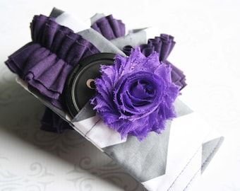 Ruffled Camera Strap Cover Padded with Lens Cap Pocket and Flower - Dark Gray Chevron with Purple Ruffle - MADE TO ORDER
